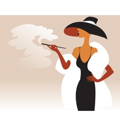 A woman in a fur coat and hat with a cigarette in vector