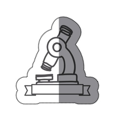 Sticker silhouette monochrome of microscope tool vector