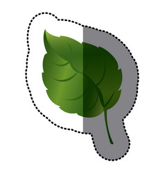 Green leaf contrast icon vector