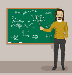 Young male math teacher next to blackboard vector