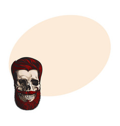 Hand drawn human skull with hipster red hairdo vector