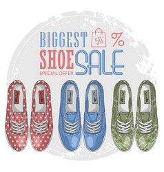 Fashion sketch womens shoes vector