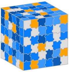 Puzzle cube for your business presentation vector