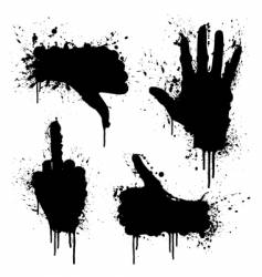 Hand gestures splatter design elements vector