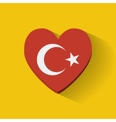 Heart-shaped icon with flag of Turkey vector image