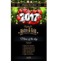 2017 Happy New Year Restaurant Menu Template vector image vector image