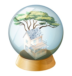 A crystal ball with a house inside vector