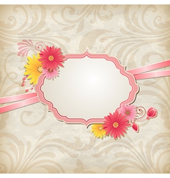 Vintage background with label and flowers vector image