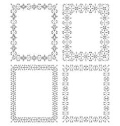4 black rectangular frame in ethnic style vector