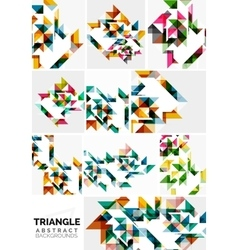 Set of colorful modern triangle pattern vector