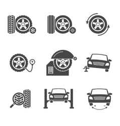 Tire wheel service black icons set vector