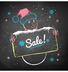 Snowman with sale signboard vector