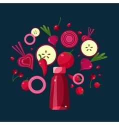 Red smoothie recipe of ingredients vector