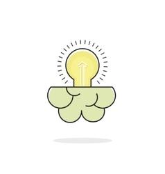 Light bulb brain icon isolated on white idea vector image