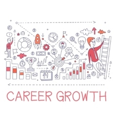Career growth process elements creative sketch vector