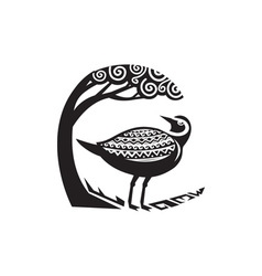 Golden plover standing tree tribal art vector