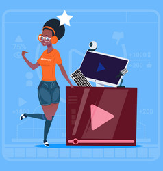 African american girl over vlogger channel screen vector