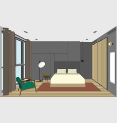 bedroom perspective view vector image vector image
