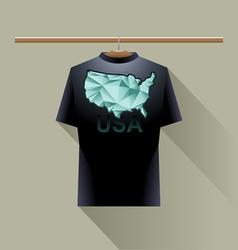 Black shirt with green usa logo vector