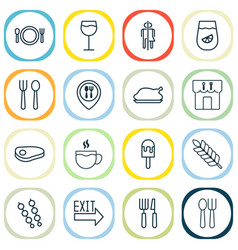 Cafe icons set collection of sorbet silverware vector