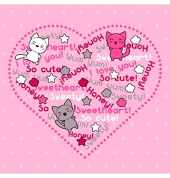 Card with cute kawaii doodle cats vector