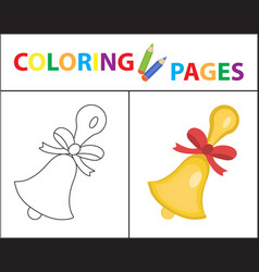 Coloring book page school bell sketch outline vector