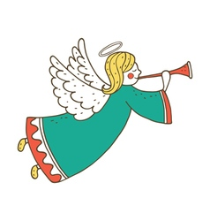 Cute flying angel with flute vector image