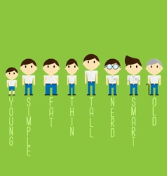 different character cartoon man vector image vector image
