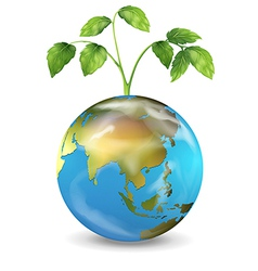Earth with a growing plant vector image vector image