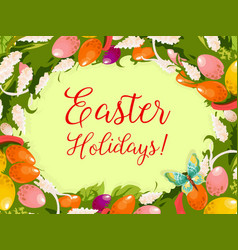 Easter wreath of egg flower greeting card design vector