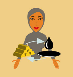 Flat icon on theme arabic business arab woman vector