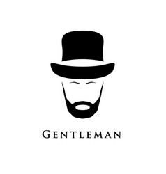 gentleman with beard and in hat vector image vector image