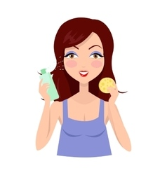 Girl clean her face with lotion and sponge vector