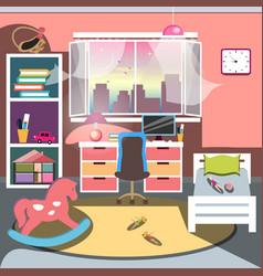Girls all pink bedroom interior vector