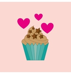 Heart cartoon cupcake chip star chocolate icon vector
