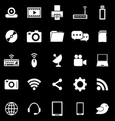 Hi tech icons on black background vector image vector image