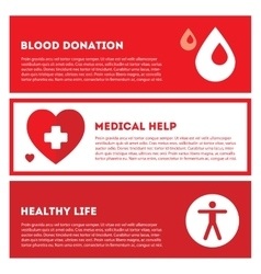 Medical donation Banner set in red colors vector image vector image