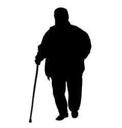 old man walks with cane vector image vector image