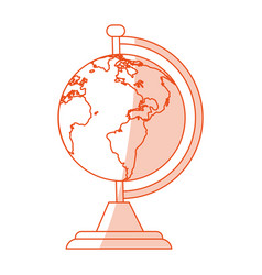 Orange shading silhouette cartoon earth globe with vector