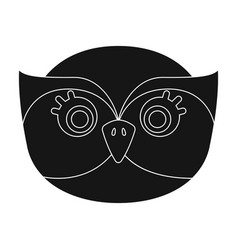 owl muzzle icon in black style isolated on white vector image