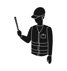 Parking attendant icon in black style isolated on vector