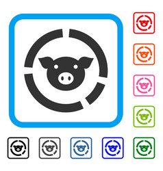 pig diagram framed icon vector image
