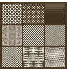 Set of 9 simple seamless monochrome patterns vector