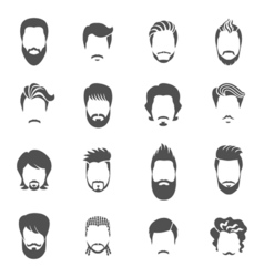 Set Of Black Icons Hairstyle Man vector image vector image