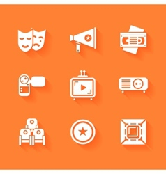 Set of white cinema movie icons vector image
