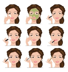 set of women with make-up vector image