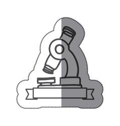 Sticker silhouette monochrome of microscope tool vector