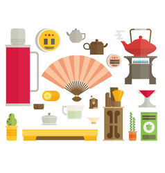 tea ceremony icon set flat vector image