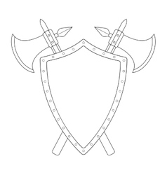 Two crossed axes and steel shield emblem Contour vector image