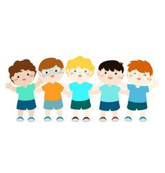 Variety nationality cartoon character boy set vector